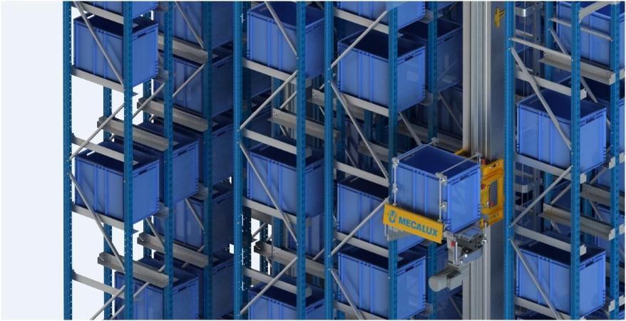 Un depósito automático miniload en el centro logístico de Clics en Bélgica